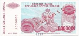 Croatia Knin Krajina 10.000.000.000 Dinara 1993. UNC SPECIMEN  P - R28 - Croatia