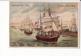 """CHROMO Compagnie Des Antilles , Entrée Au Port Du Hâvre , Voilier """"Le Chauvet"""" - Cromos"""