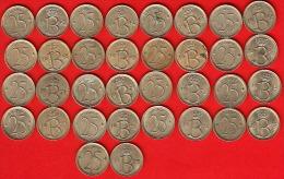 Lot De 17 Pièces Monnaie  De Circulation (réf 128 ) 25 Centimes Cupro-nickel, Type Monogramme B - 1951-1993: Baudouin I