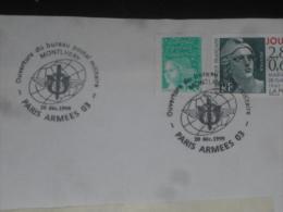 MILITARIA LETTRE AVEC CACHET ROND COMMEMORATIF PARIS ARMEES 03 MONTHLERY SUR YT 2933 - OUVERTURE - - Poststempel (Briefe)