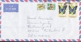 Kenya Airmail Par Avion NAIROBI 1996 Cover Brief To Denmark 2x 3 Sh (Pair) Schmetterling Butterfly Papillon - Kenia (1963-...)