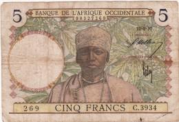 BILLET 5 FRANCS 1937 PICK 21  BANQUE DE L AFRIQUE OCCIDENTALE BON ETAT VOIR SCAN - West-Afrikaanse Staten