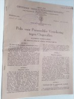 Polis Voor PERSOONLIJKE Verzekering Tegen ONGEVALLEN Groep JOSI 617.013/04 - 1956 ( Details Zie Foto ) ! - Bank & Insurance