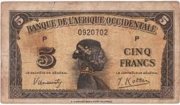 BILLET 5 FRANCS 1942 PICK 28  BANQUE DE L AFRIQUE OCCIDENTALE BON ETAT VOIR SCAN - Estados De Africa Occidental