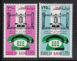 Qatar MH Scott #470-#471 Set Of 2 Telephones - Centenary Of 1st Telephone Call By A G Bell - Qatar