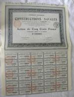 Titre Compagnie Générale De CONSTRUCTIONS NAVALES Action 500 Francs Au Porteur 30 Coupons - Navigation - Navigation