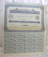 Titre MINES De FER De LARRATH Algérie  Action 100 Francs Au Porteur 20 Coupons - Navy