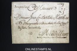 France 1756  Cover Enveloppe To  Middelbourg Middelburg  Hollande - 1701-1800: Précurseurs XVIII