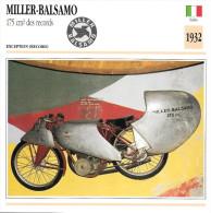 1932 - FICHE TECHNIQUE MOTO - DÉTAIL COMPLET À L´ENDOS - MILLER BALSAMO 175 Cm3 DES RECORDS - EXCEPTION - ITALIE - Motor Bikes