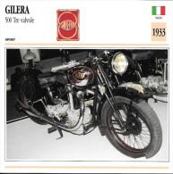 1933 - FICHE TECHNIQUE MOTO - DÉTAIL COMPLET À L´ENDOS - GILERA 500 TRE VALVOLE - SPORT - ITALIE - Motor Bikes