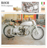 1939 - FICHE TECHNIQUE MOTO - DÉTAIL COMPLET À L´ENDOS - BIANCHI 500 GP À COMPRESSEUR - COURSE - ITALIE - Motor Bikes