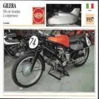 1937 - FICHE TECHNIQUE MOTO - DÉTAIL COMPLET À L´ENDOS - GILERA 500 Cm3 RONDINE À COMPRESSEUR - COURSE - ITALIE - Motor Bikes