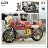 1981 - FICHE TECHNIQUE MOTO - DÉTAIL COMPLET À L´ENDOS - CAGIVA 500 GP - COURSE - ITALIE - Motor Bikes