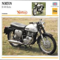 1964 - FICHE TECHNIQUE MOTO - DÉTAIL COMPLET À L´ENDOS - NORTON ES 400 ELECTRA - TOURISME - GRANDE BRETAGNE - Motor Bikes