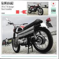 1968 - FICHE TECHNIQUE MOTO - DÉTAIL COMPLET À L´ENDOS - KAWASAKI 350 A 7 SS AVENGER STREET SCAMBLER - JAPON - Motor Bikes
