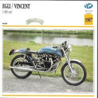 1967 - FICHE TECHNIQUE MOTO - DÉTAIL COMPLET À L´ENDOS - EGLI/VINCENT 1 000 Cm3 - SPORT - SUISSE - Motor Bikes