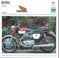 1969 - FICHE TECHNIQUE MOTO - DÉTAIL COMPLET À L´ENDOS - HONDA CB 350 - TOURISME - JAPON - Motor Bikes