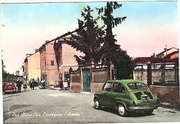 VR254 CARTOLINA ACQUARELLATA  ALESSANDRIA DUE STURE VIA CRISTOFORO COLOMBO AUTOMOBILE FIAT 600 - Alessandria