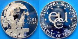 BULGARIA 500 L 1993 ARGENTO PROOF SILVER ST THEODOR STRATILAT PESO 33,625g TITOLO 0,925 CONSERVAZIONE FONDO SPECCHIO UNC - Bulgaria