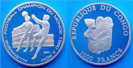 CONGO 1000 F 2001 ARGENTO PROOF 999 WORLD CUP ITALIA 90 FOOTBALL PESO 15g TITOLO 0,999 CONSERVAZIONE FONDO SPECCHIO - Congo (Repubblica Democratica 1998)