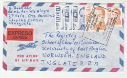 1985 EXPRESS Air MaiL VENEZUALA  Stamps COVER To GB - Venezuela