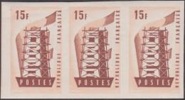 France 1956 Y&T 1076. Bande De 3, Essais De Couleurs. Exceptionnel Sur Un Timbre Typo. Europa 1956. RRRR. MNH - 1956
