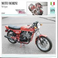 1979 - FICHE TECHNIQUE MOTO - DÉTAIL COMPLET À L´ENDOS - MOTO MORINI 500 SPORT - ITALIE - Motor Bikes