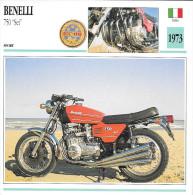 1973 - FICHE TECHNIQUE MOTO - DÉTAIL COMPLET À L´ENDOS - BENELLI 750 SEI - SPORT - ITALIE - Motor Bikes
