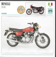 1976 - FICHE TECHNIQUE MOTO - DÉTAIL COMPLET À L´ENDOS - BENELLI 350 RS - TOURISME - ITALIE - Motor Bikes