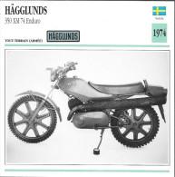 1974 - FICHE TECHNIQUE MOTO - DÉTAIL COMPLET À L´ENDOS - HÄGGLUDS 350 XM 74 ENDURO - TOUT TERRAIN - SUÈDE - Motor Bikes