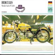1973 - FICHE TECHNIQUE MOTO - DÉTAIL COMPLET À L´ENDOS - HERCULES WANKEL SACHS W 2000 - TOURISME - ALLEMAGNE - Motor Bikes