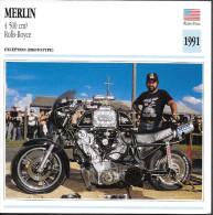 1991 - FICHE TECHNIQUE MOTO - DÉTAIL COMPLET À L´ENDOS - MERLIN 4 500cm3 ROLLS ROYCE - EXCEPTION - ÉTATS UNIS - Motor Bikes