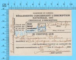 Canada Pré-conscription ( Certificat D'inscription, 20 Aout 1940, Mlle Laureanne Pellerin St-Georges, Quebec )Recto/Vers - Documenti