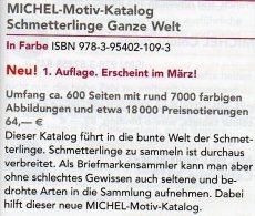 MICHEL Schmetterlinge Ganze Welt Motiv-Katalog 2015 Neu 64€ Color Topics Butterfly Catalogue The World 978-3-95402-109-3 - Mineralien & Fossilien