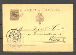 1897 IRÚN, ENTERO POSTAL ED. 36, CIRCULADO A VIENA, ALFONSO XIII, PELÓN - Entiers Postaux