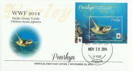 pen1403s1F Penrhyn 2014 WWF Pacific Green Turtle s/s FDC