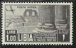 LIBIA 1937 POSTA AEREA AIR MAIL STRADA LITORANEA LIRE 1 MNH - Libya