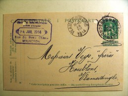 PW 50. Brouwerij Brasserie Mouscronnoise 24-VII-1914 Rue Beau Chêne Mouscron Vers Vlamertinge Prix Houblon - Entiers Postaux