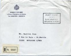 Lettre En Port Payé 1979 Office Des Timbres Poste Recommandée Pour La France  Cachet PORT PAYE (PP) SAN MARINO - Lettres & Documents