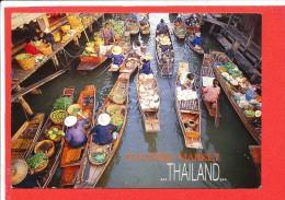 THAILLANDE Cp Animée Floating Market  750 Media - Thaïlande
