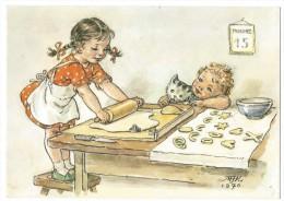 12020 - MFK 1970  Enfants Faisant Des Biscuits  Chat Signé M. Fischerova Kvechova (Format 10X15) - Illustrateurs & Photographes