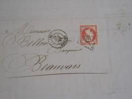 FRANCE- N° YVERT 17B  80c ROSE )SUR LETTRE D'AMIENS POUR BEAUVAIS EN 1863 OBL GC 85  A VOIR  LOT P2577 - 1849-1876: Klassik