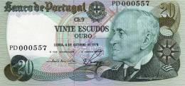 BANCO DE PORTUGAL--VINTE ESCUDOS---LISBOA,4 DE OUTUBRO DE 1978 - Portugal
