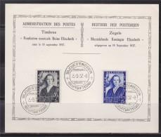 = Belgique Carte 1er Jour Bruxelles 15.9.37 Fondation Musicale Reine Elisabeth 2 Timbres - ....-1951