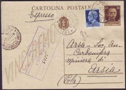 ITALIA - RSI  - CARTOLINA POSTALE - S. AGATA FELTRIA  To ISTRIA -  1942 - 1900-44 Vittorio Emanuele III