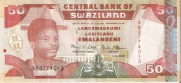 BILLETE DE SWAZILAND DE 50 EMALANGENI DEL AÑO 2001   (BANKNOTE) LEON-ELEFANTE-LION-ELEPHANT - Swaziland