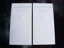 3 X Singapore Perfume Cards Carte Parfumee -- ESTEE LAUDER EMERALD DREAM - Perfume Cards