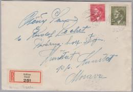 Heimat Tschechien SCHLAN 1943-12-13 R-Brief Nach Kunstadt - Bohême & Moravie
