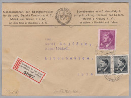 Heimat Tschechien RAUDNITZ An Der Elbe 1944-06-15 R-Brief Nach Libochovice - Bohême & Moravie