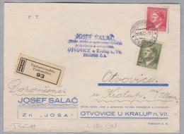 Heimat Tschechien TUCHOMIERSCHITZ 1943-06-10 R-Brief Nach Otvovice - Bohême & Moravie